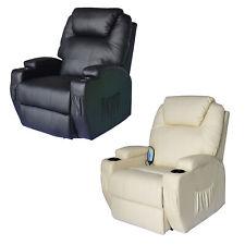 HOMCOM - Poltrona Relax Massaggio Girevole in Simipelle