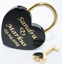 Liebesschloss Herz in SCHWARZ-gold mit Gravur Groß 60x45 mm Vorhängeschloss