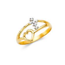 14K Solid Gold Cross Heart Cubic Zirconia Fancy Ring