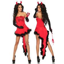 Teufelskostüm Kostüm Teufel Teufelin Damen Set Kleid Halloween Karneval S-3XL