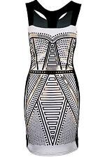 Women's Sleeveless Evening Tribal Print Black Foil Smart Ladies Bodycon Dress