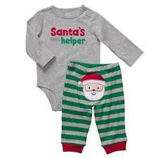 NWT Carter's Infant Boys 3 6 M Santa's Little Helper Christmas Shirt Pants Oufit