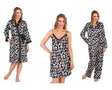 LADIES VINTAGE BLACK FLOWER SATIN  PYJAMA CAMI NIGHTDRESS DRESSING GOWN KIMONO
