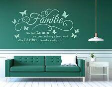 Wandtattoo Wohnzimmer Wandtatoo Spruch Familie ist wo das Leben Liebe pkm176