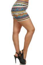Womens Multi-Color High Waist Aztec Print Shorts One Size Fit  XL,1X,2X (14-18)