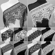 3 Yards Fashion Black&White Crafts Dress Making Eyelash Lace Trim Floral Sewing