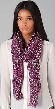 $250 NEW Diane von Furstenberg DVF Kenley Scarf Snow Leopard Pink White Black