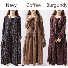 Women Vintage Linen Cotton Full Length Dress Pleated Flower Printed Long Sleeve