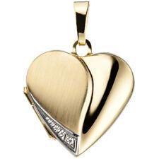 Medaillon Herz zum öffnen für 2 Bilder echt Gold Gravur Kette Foto NEU Amulett