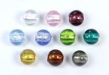 10 Glasperlen mit Silberfolie rund 10mm Perlen Farbauswahl