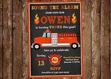 Fire, Fireman, Fire Truck, Birthday Party Invitation