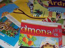 Vintage Retro Unused Tea Towel Linen Australian Souvenir Butterflies Dogs Tasman