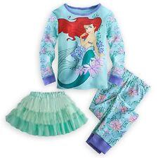Disney Store Princess Ariel 3PC Deluxe Long Sleeve Pajama Tutu Set Girl Size 5 6