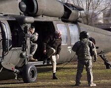 Senator Bernie Sanders exits US Army helicopter in Afghanistan Photo Print