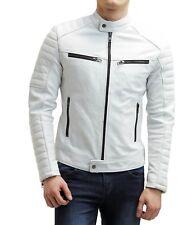 White Leather Motorcycle Jacket for Men Biker Genuine Lambskin Size S M L XL XXL