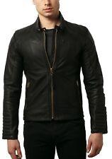 Men Black Leather Jacket Biker Motorcycle Lambskin Size S M L XL XXL Custom Made