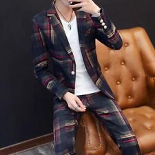 fashion Mens Outdoor Plaids Blazer Suits Coat Pants  Slim Fit Jacket Outerwear