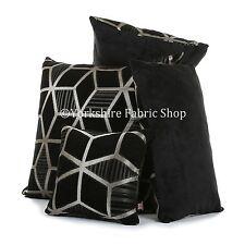 SUAVE TEJIDO CHENILLA Oro Negro Brillante Cubo geométrico 3d Estampado