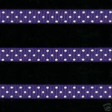 "5 yards 3/8"" Regal Purple Swiss Polka Dot Grosgrain Ribbon"