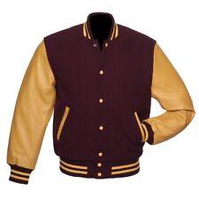 Marron/or jaune Varsity Wool Letterman Veste en cuir véritable manches