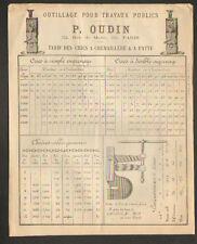 """PARIS (XI°) OUTILS & ACCESSOIRES / CRICS à CREMAILLERE & à PATTE """"P. OUDIN"""" 1880"""