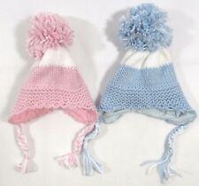 Baby Bambini Ragazzi Ragazze A Maglia Cappello Invernale Bobble POM POM Orecchie Flap Legare 079