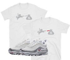 "Nike Air Max 97 95 Plus Metallic Silver White Bullet ""Love of Money"" WHITE SHIRT"
