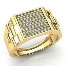 Genuine 0.33ctw Round Diamond Mens Cluster Anniversary Ring 10K Gold