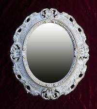 Wandspiegel Spiegel WEIß GOLD OVAL 45x38 BAROCK Antik REPRO Vintage 345 12*