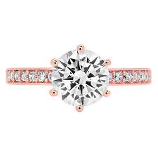 1.96ct Round Cut Moissanite Classic Bridal Statement Designer Ring 14k Rose Gold