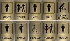Gold Aluminium Toilet Sign 100x150mm Ladies, Women, Baby Change, Men, Gents