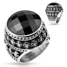 Stainless Steel Men's Skull Design Black CZ Center Ring Size 9-13
