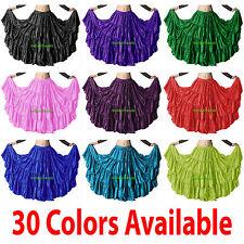 Satin 12 Yard Tiered Gypsy Skirt Belly Dance Tribal Ruffle Costume Jupe Flamenco