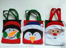 Carácter de navidad de fieltro tratar Bolsa en Muñeco De Nieve Pingüino Santa Navidad Media Saco