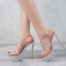 Platform Crystal Clear Sandals Crossdresser Heels Drag Queen Large Shoes Plus Sz