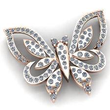 5ctw Genuine Round Cut Diamond Ladies Butterfly Bird Fancy Pendant 10K Gold