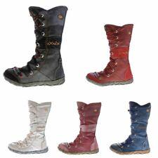 Leder Stiefel TMA 2088 Damen Winter Schuhe gefüttert Used Look Schwarz Blau Rot