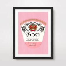 ROSE WINE PINK ART PRINT POSTER Drink Vintage Advertising Label Kitchen Decor