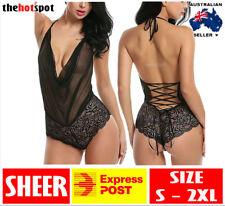 Sexy Nightwear Lingerie Teddy Lave Bodysuit Erotic Sheer Ribbon Lace FAST POST