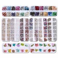 3D Nail Art Rhinestones Glitters Beads Acrylic Tips Design Champagne Rose DIY