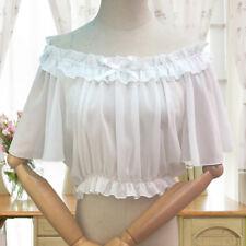 Women Girls Ruffles Lolita Tops Chiffon Shirt Pleated Blouse Short Flare Sleeve