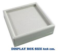 FREE SHIP TOP GLASS GEMSTONE JEWELRY COIN DISPLAY SHOW WHITE CASE JAR BOX 6x6 cm