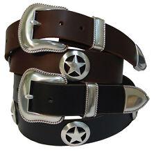 "Mens Full Grain Leather Jean Belt Western Sheriff Star Conchos 1.5"" Black Brown"