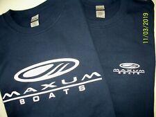 Two Maxum Boats Screen Printed Navy T-Shirts 6 oz. 100% Cotton