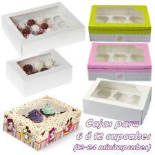 Caja para 6, 12 ó 24 cupcakes blanca rosa verde o de Mickey Mouse con interior