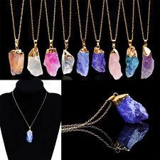 New Natural Crystal Quartz Stone Gemstone Pendant Womens Irregular Necklace HGUK
