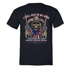 Give Up My Guns T-shirt American USA Cold Flag Dead Skull 2nd Second Amendment