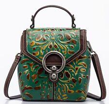 Retro Women Genuine Cow Leather Backpack Shoulder Bag Embossed Handbag Purse XS