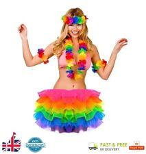 Lei Hula & Ladies Rainbow Tutu Hawaiian Garland Hen Party Fancy Dress Gay Pride