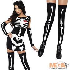 Sexy Calze + scheletro donna Halloween Fancy Dress Costume Adulto Da Donna Nuovo